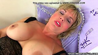 UK milf Danielle works her poundable cooch with a massager