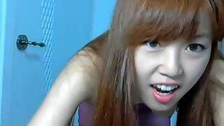 Skinny Asian girl dancing on webcam