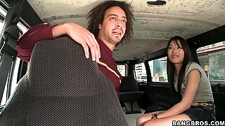 Modest Asian girl Jen Li gets in out defiant bus for a hot ride