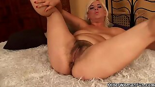 Chunky soccer mom with big tits and hairy pussy