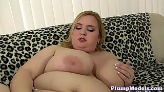 Plump beauty pleasured with a vibrator