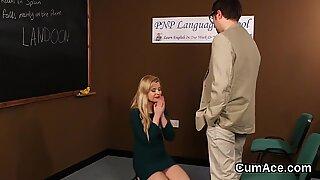 Slutty stunner gets cum shot on her face sucking all the jism