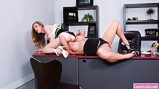 Blonde babe eating her managers pussy