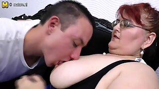 Mature BBW mom loves having hard sex with young boy