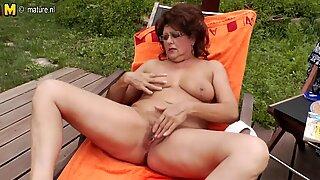 Hot grandma enjoys the pool and her hairy beaver